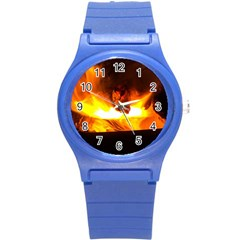Fire Rays Mystical Burn Atmosphere Round Plastic Sport Watch (s) by Nexatart