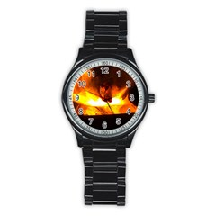 Fire Rays Mystical Burn Atmosphere Stainless Steel Round Watch by Nexatart