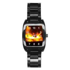 Fire Rays Mystical Burn Atmosphere Stainless Steel Barrel Watch by Nexatart