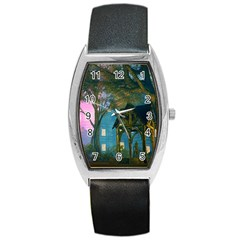 Background Forest Trees Nature Barrel Style Metal Watch by Nexatart