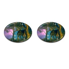 Background Forest Trees Nature Cufflinks (oval) by Nexatart