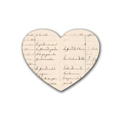 German French Lecture Writing Rubber Coaster (heart)  by Nexatart