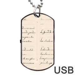 German French Lecture Writing Dog Tag Usb Flash (one Side) by Nexatart