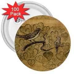 Birds Figure Old Brown 3  Buttons (100 Pack)  by Nexatart