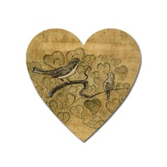 Birds Figure Old Brown Heart Magnet by Nexatart