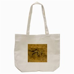 Birds Figure Old Brown Tote Bag (cream) by Nexatart