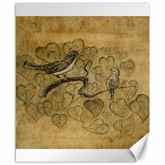 Birds Figure Old Brown Canvas 8  X 10  by Nexatart