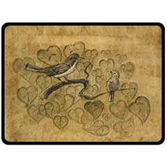 Birds Figure Old Brown Double Sided Fleece Blanket (large)  by Nexatart