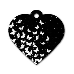 Butterfly Pattern Dog Tag Heart (one Side) by Valentinaart