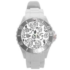Tropical Pattern Round Plastic Sport Watch (l) by Valentinaart
