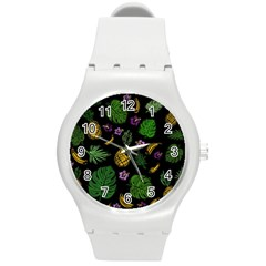 Tropical Pattern Round Plastic Sport Watch (m) by Valentinaart
