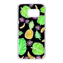 Tropical Pattern Samsung Galaxy S7 White Seamless Case by Valentinaart
