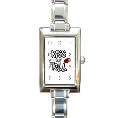 Kiss And Tell Rectangle Italian Charm Watch by Valentinaart