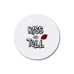 Kiss And Tell Rubber Coaster (round)  by Valentinaart