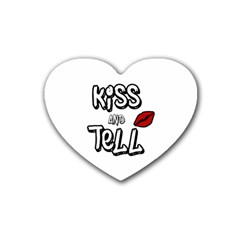 Kiss And Tell Heart Coaster (4 Pack)  by Valentinaart