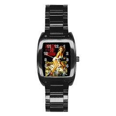 Attack Of The 50 Ft Woman Stainless Steel Barrel Watch by Valentinaart