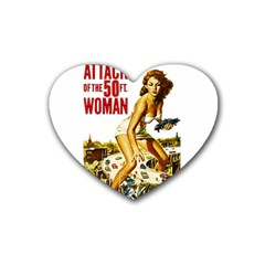 Attack Of The 50 Ft Woman Rubber Coaster (heart)  by Valentinaart