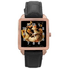 Carmen Rose Gold Leather Watch  by Valentinaart