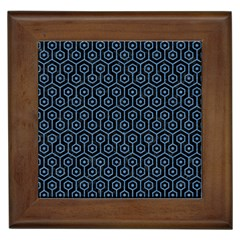 Hexagon1 Black Marble & Blue Colored Pencil Framed Tile by trendistuff