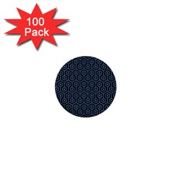 Hexagon1 Black Marble & Blue Colored Pencil 1  Mini Button (100 Pack)  by trendistuff