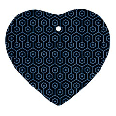 Hexagon1 Black Marble & Blue Colored Pencil Heart Ornament (two Sides) by trendistuff