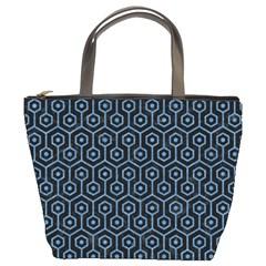 Hexagon1 Black Marble & Blue Colored Pencil Bucket Bag by trendistuff