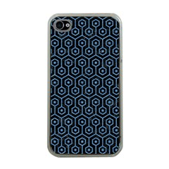 Hexagon1 Black Marble & Blue Colored Pencil Apple Iphone 4 Case (clear) by trendistuff