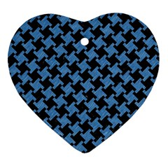 Houndstooth2 Black Marble & Blue Colored Pencil Ornament (heart) by trendistuff