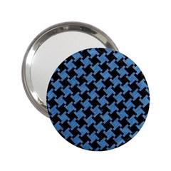 Houndstooth2 Black Marble & Blue Colored Pencil 2 25  Handbag Mirror by trendistuff