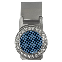 Houndstooth2 Black Marble & Blue Colored Pencil Money Clip (cz) by trendistuff