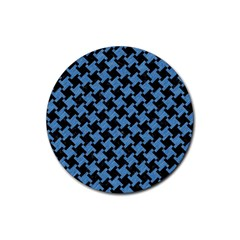 Houndstooth2 Black Marble & Blue Colored Pencil Rubber Round Coaster (4 Pack) by trendistuff