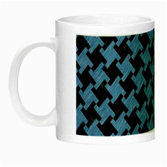 Houndstooth2 Black Marble & Blue Colored Pencil Night Luminous Mug by trendistuff
