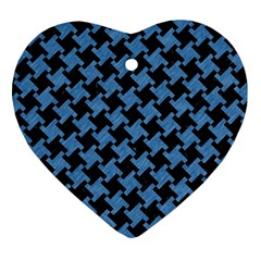 Houndstooth2 Black Marble & Blue Colored Pencil Heart Ornament (two Sides) by trendistuff