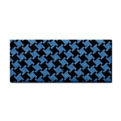 Houndstooth2 Black Marble & Blue Colored Pencil Hand Towel by trendistuff