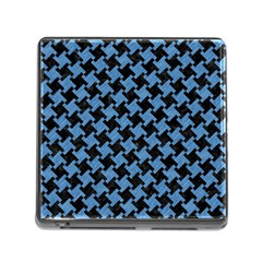 Houndstooth2 Black Marble & Blue Colored Pencil Memory Card Reader (square) by trendistuff
