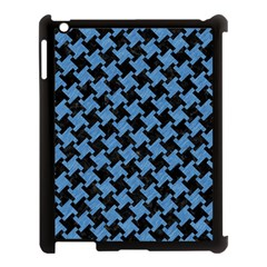 Houndstooth2 Black Marble & Blue Colored Pencil Apple Ipad 3/4 Case (black) by trendistuff