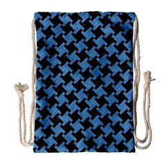 Houndstooth2 Black Marble & Blue Colored Pencil Drawstring Bag (large) by trendistuff