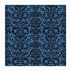 Damask2 Black Marble & Blue Colored Pencil (r) Medium Glasses Cloth by trendistuff