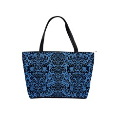 Damask2 Black Marble & Blue Colored Pencil (r) Classic Shoulder Handbag by trendistuff