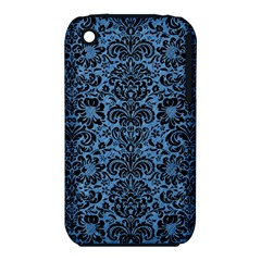 Damask2 Black Marble & Blue Colored Pencil (r) Apple Iphone 3g/3gs Hardshell Case (pc+silicone) by trendistuff