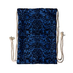 Damask2 Black Marble & Blue Colored Pencil (r) Drawstring Bag (small) by trendistuff
