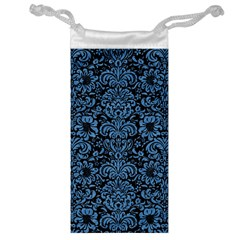 Damask2 Black Marble & Blue Colored Pencil Jewelry Bag by trendistuff