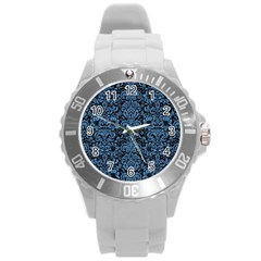Damask2 Black Marble & Blue Colored Pencil Round Plastic Sport Watch (l) by trendistuff