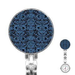 Damask2 Black Marble & Blue Colored Pencil Stainless Steel Nurses Watch by trendistuff