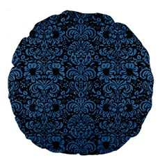 Damask2 Black Marble & Blue Colored Pencil Large 18  Premium Flano Round Cushion  by trendistuff