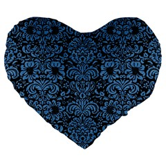 Damask2 Black Marble & Blue Colored Pencil Large 19  Premium Flano Heart Shape Cushion by trendistuff