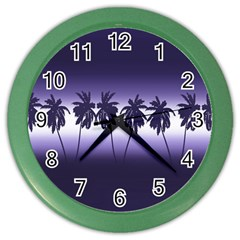 Tropical Sunset Color Wall Clocks by Valentinaart