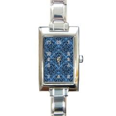 Damask1 Black Marble & Blue Colored Pencil (r) Rectangle Italian Charm Watch by trendistuff