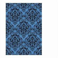 Damask1 Black Marble & Blue Colored Pencil (r) Small Garden Flag (two Sides) by trendistuff