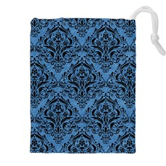 Damask1 Black Marble & Blue Colored Pencil (r) Drawstring Pouch (xxl) by trendistuff